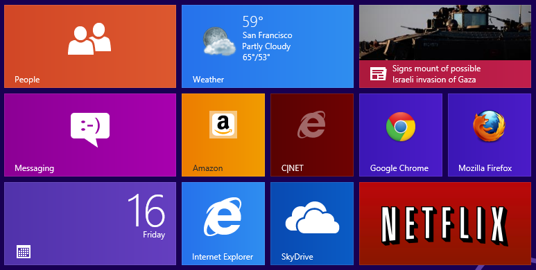 Windows 8 Start screen with Web site tiles