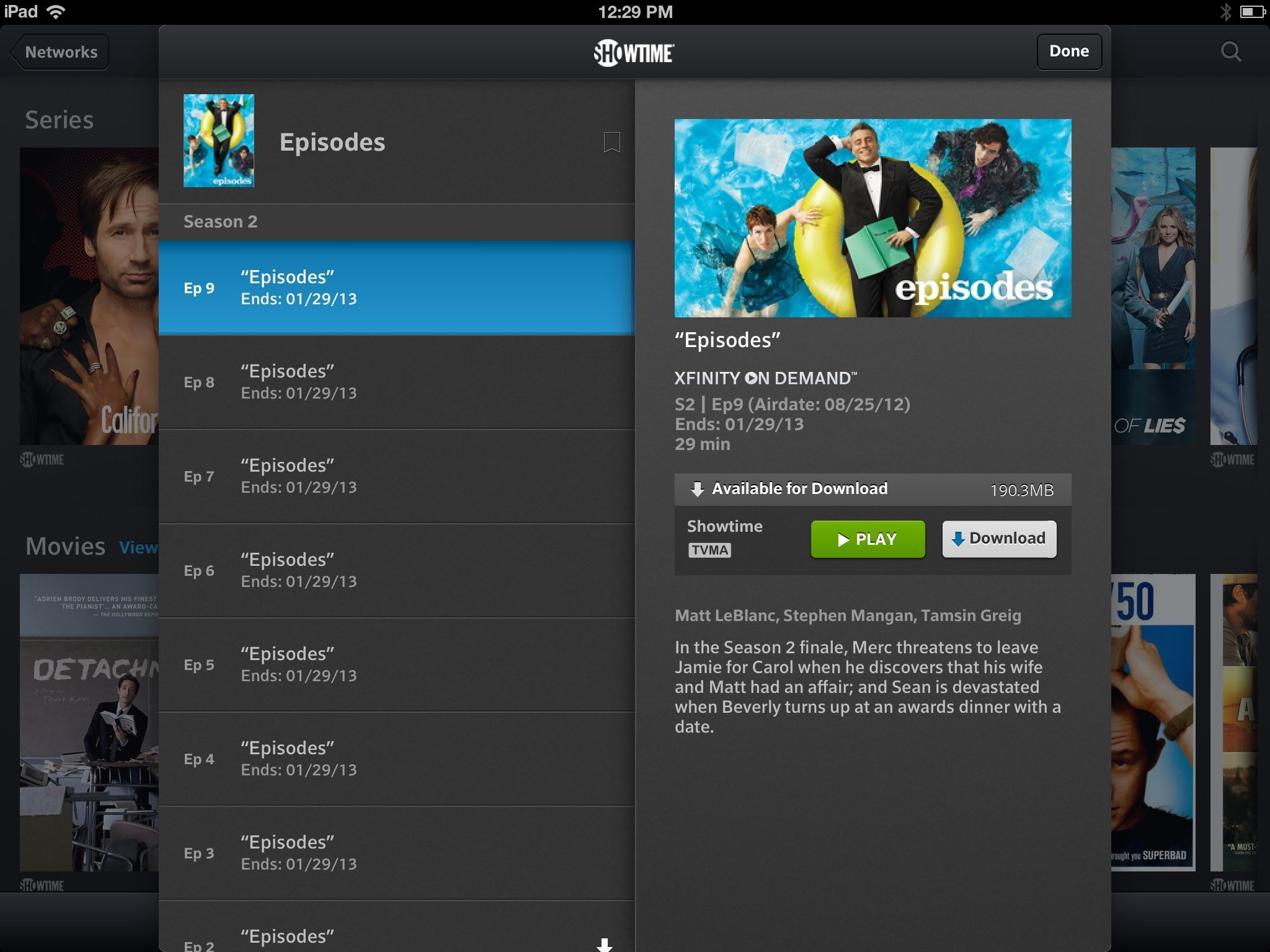 Comcast's updated Xfinity TV Player app makes it a snap to download select movies and TV shows for offline viewing.