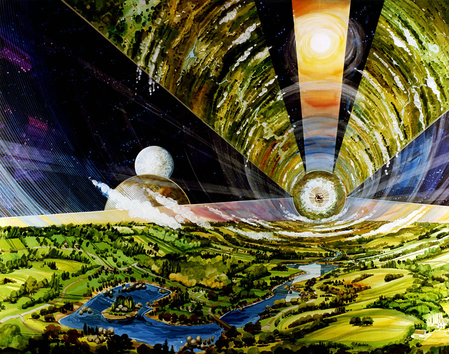 Interior view of a cylindrical space colony