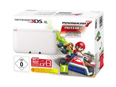 Nintendo 3DS XL (White) Mario Kart 7 Bundle