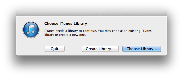 iTunes library chooser