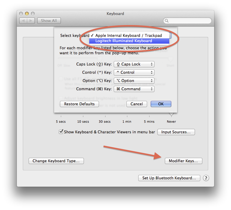 Modifier key settings in OS X