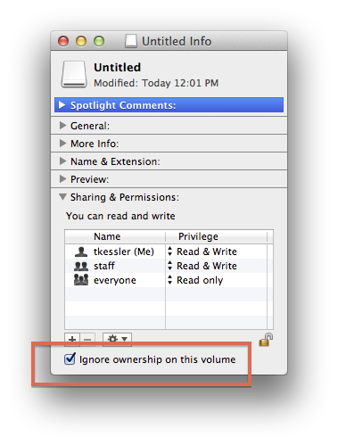 Volume ignore permissions setting