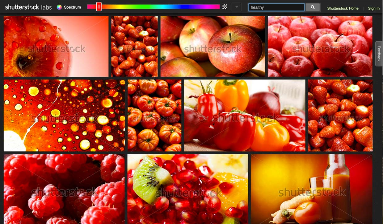 "Shutterstock labs' Spectrum search results in the red range for images with the keyword ""healthy."""