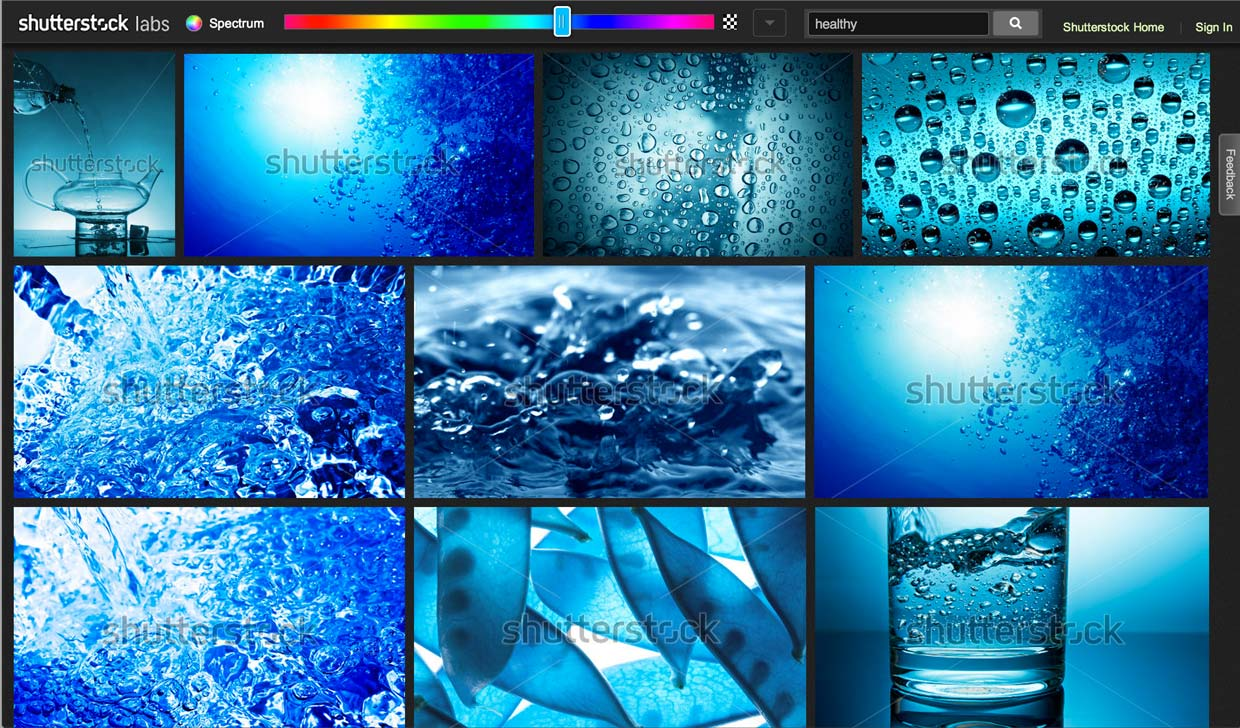 "Shutterstock labs' Spectrum search results in the blue range for images with the keyword ""healthy."""