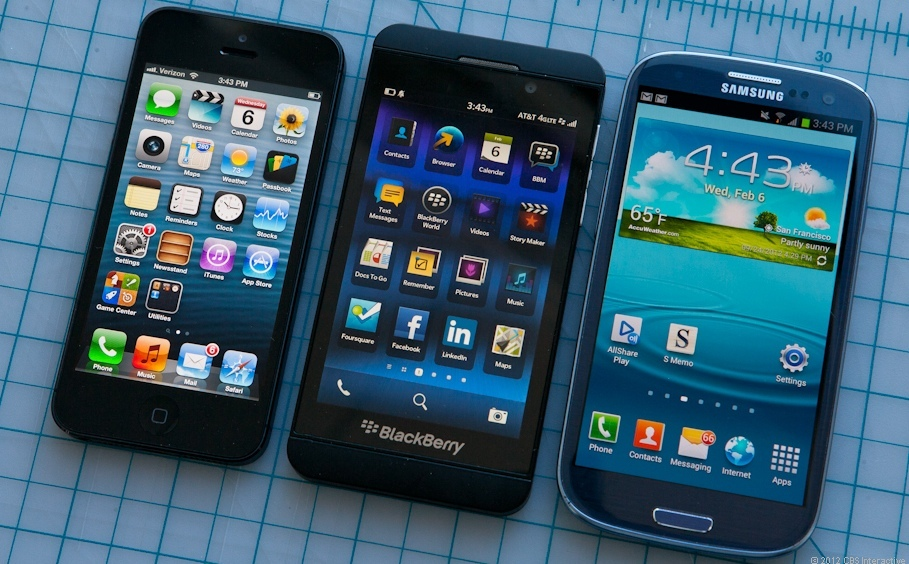 BlackBerry Z10, Samsung Galaxy S3, iPhone 5