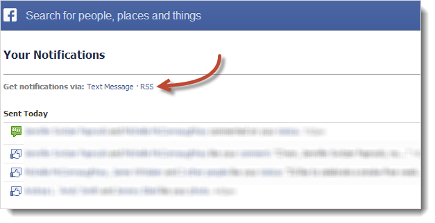 Facebook RSS notifications