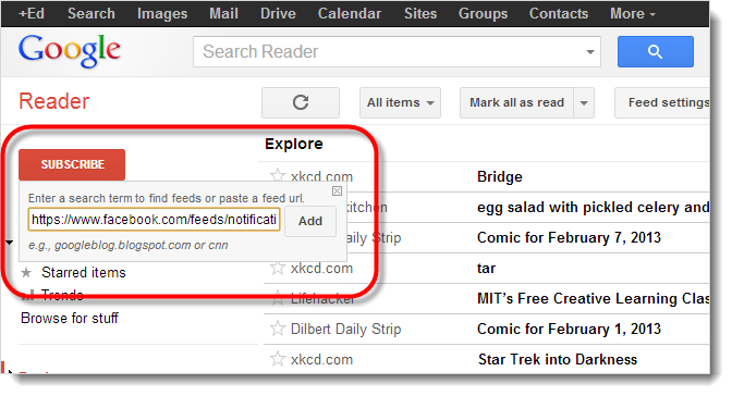 Add RSS link to Google Reader