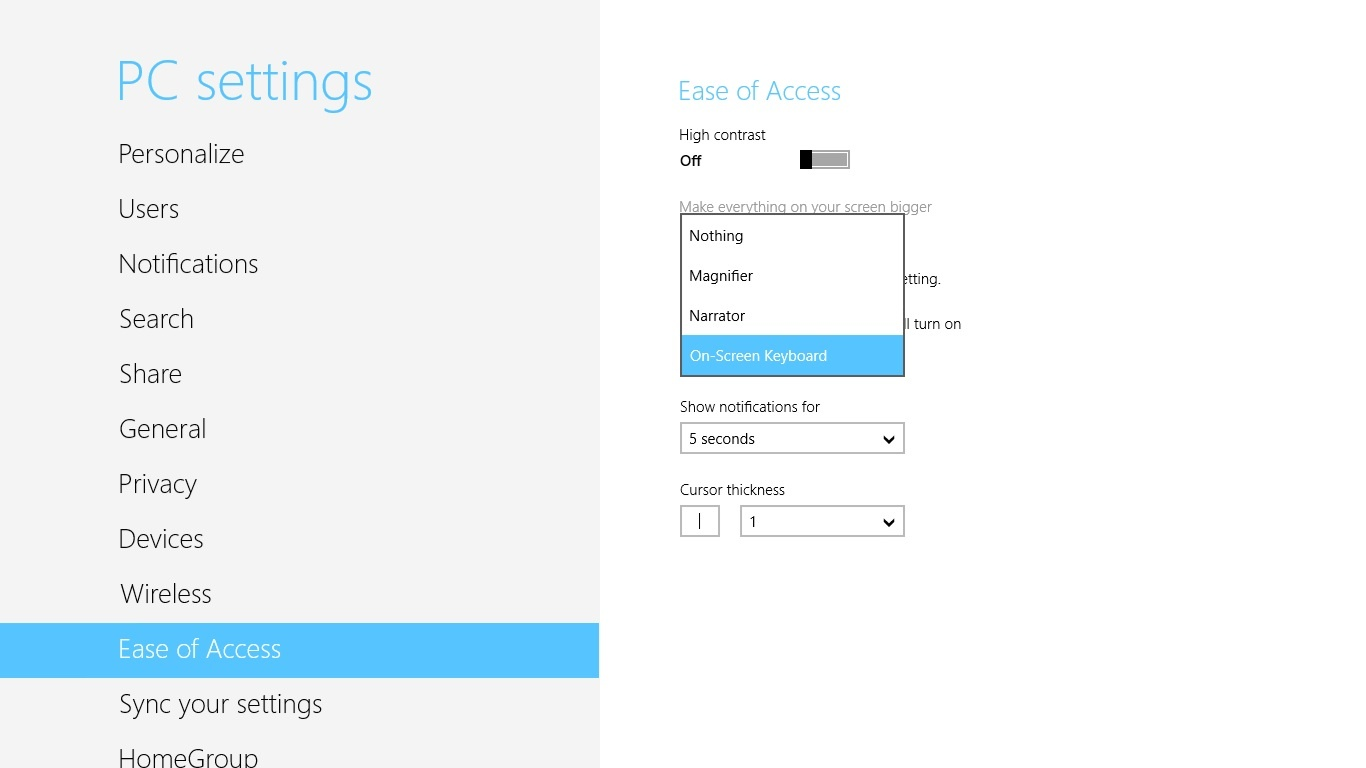 Microsoft Surface RT Ease of Access settings