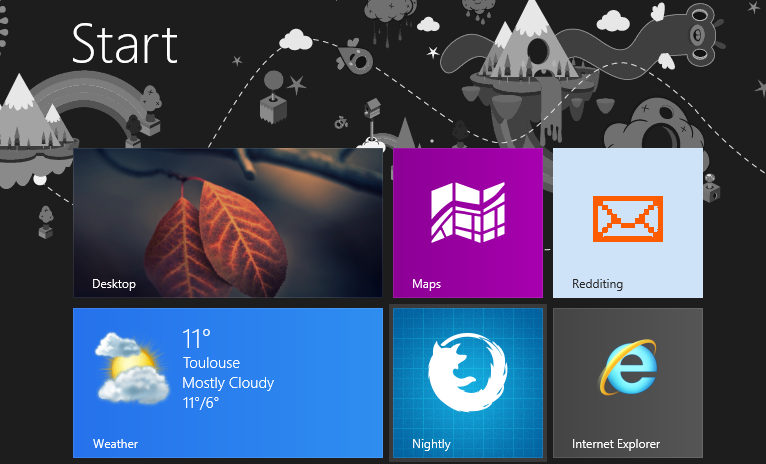Firefox Nightly's launch icon on the Windows 8 start page.