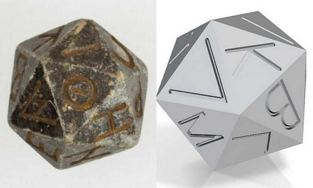 Ancient die and 3D rendering
