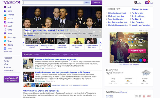 A look at the new Yahoo home page.