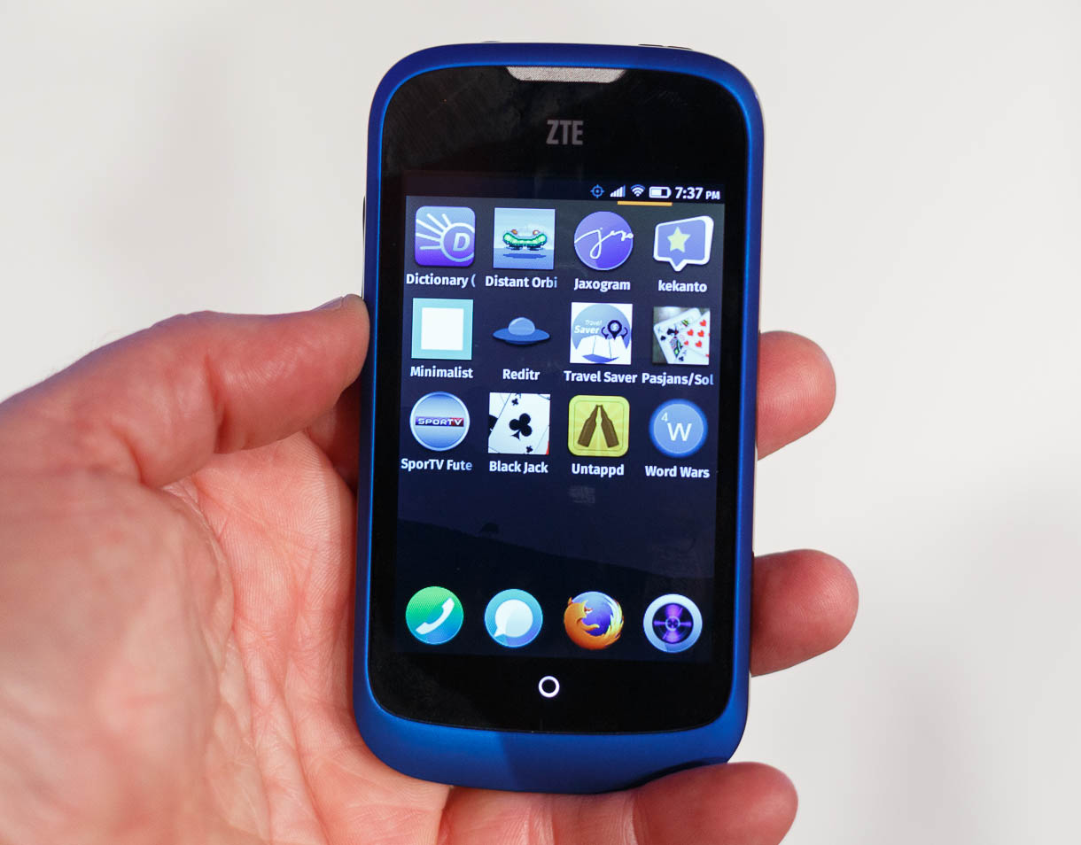 An app screen on the ZTE Open with Firefox OS.
