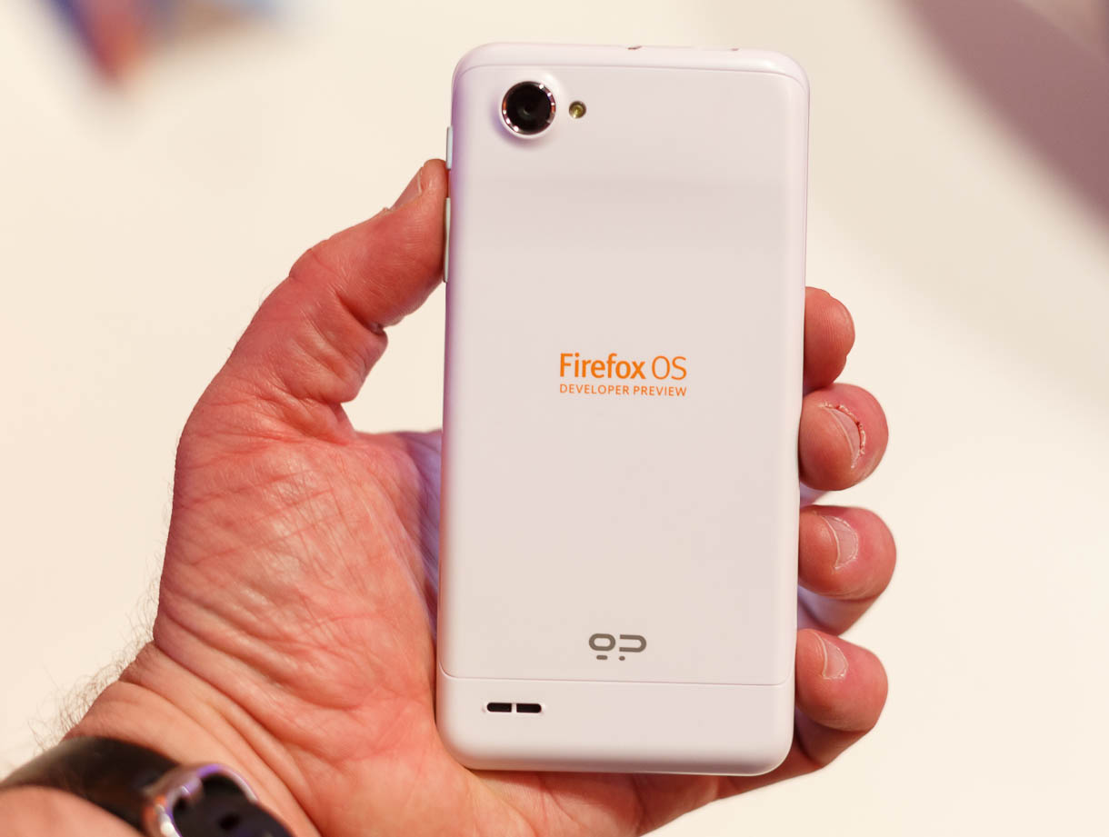 The back of the Geeksphone Peak shows its 8-megapixel camera. Firefox OS can control the camera through a newly developed Web-app interface.