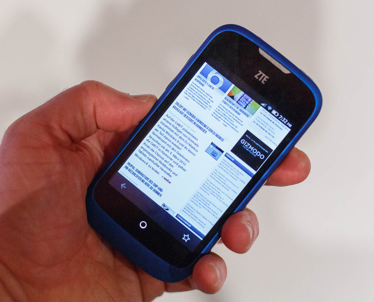 Powered by Firefox OS, the ZTE Open naturally includes the Mozilla browser, too.
