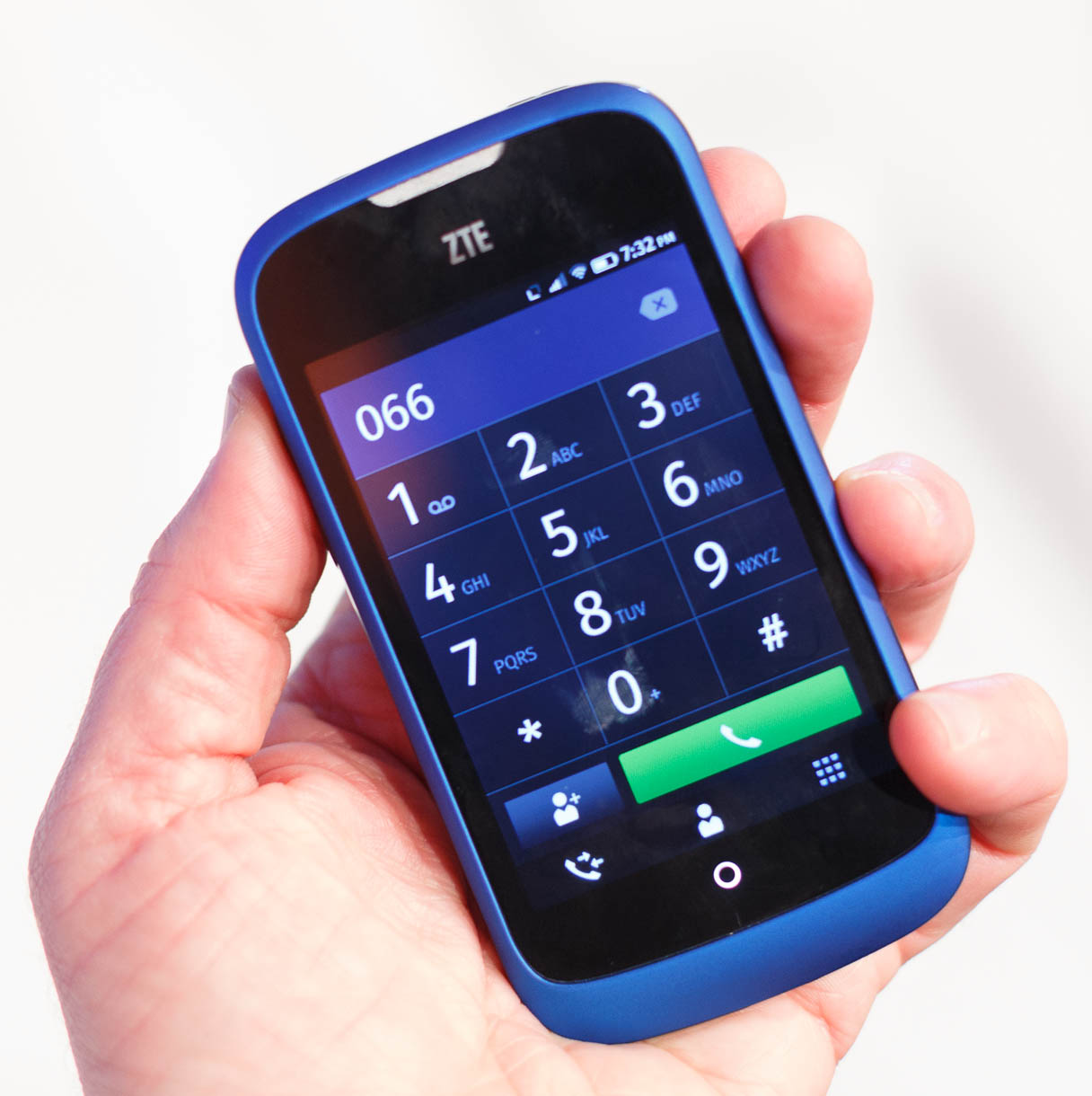 The ZTE Open feature a traditional phone dialer, with tabs along the bottom to access recent calls, contacts, and the dialpad.