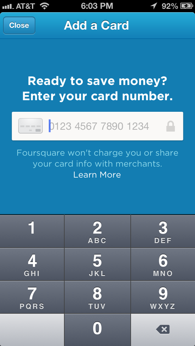 Foursquare credit card special