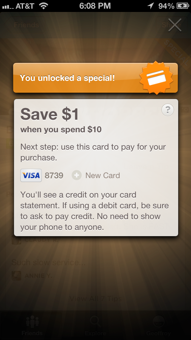 Foursquare BK credit card special