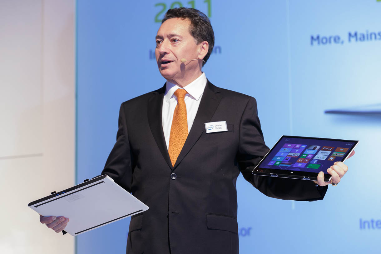 "Christian Morales, general manager of Intel's operations in Europe, the Middle East, and Africa, demonstrates a detachable touch-screen Windows 8 tablet powered by Intel's upcoming ""Haswell"" chip. He spoke at CeBIT 2013."