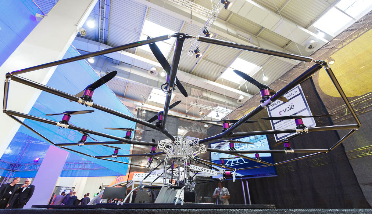 The 18-rotor E-volo VC25 copter at CeBIT.
