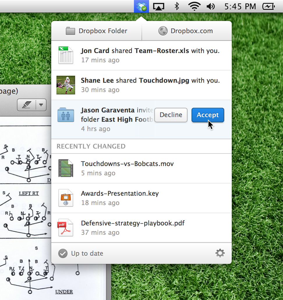 The new Dropbox desktop client on Mac.