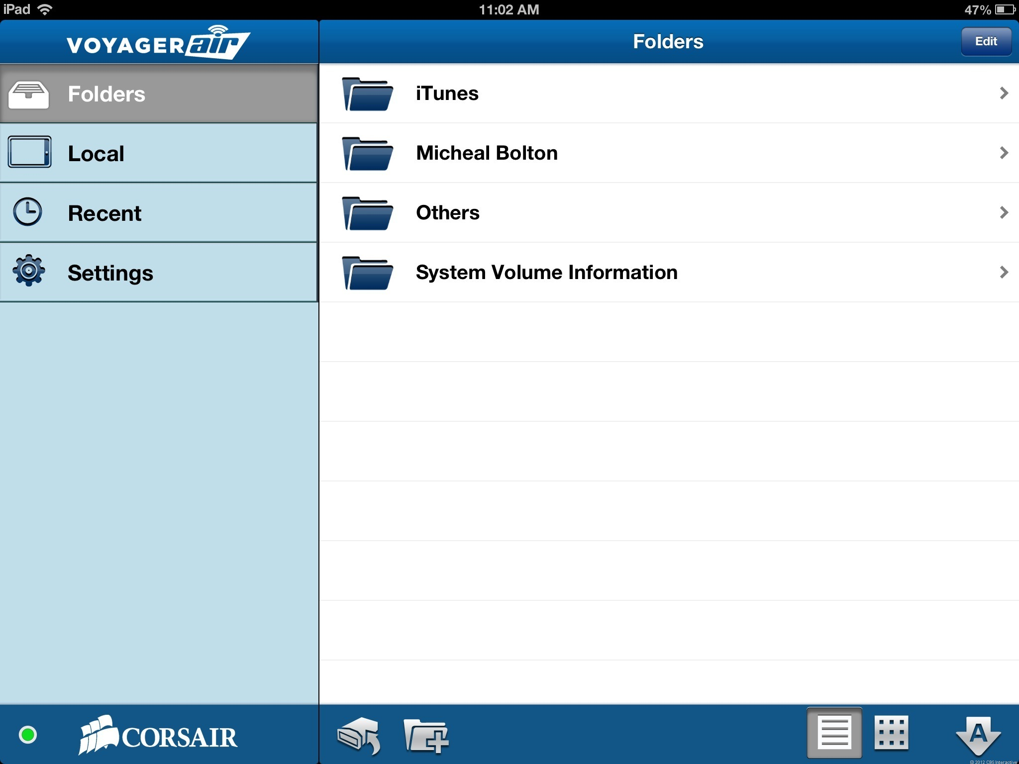 The Voyager Air mobile app doesn't offer a media organizer but just a folder browser.