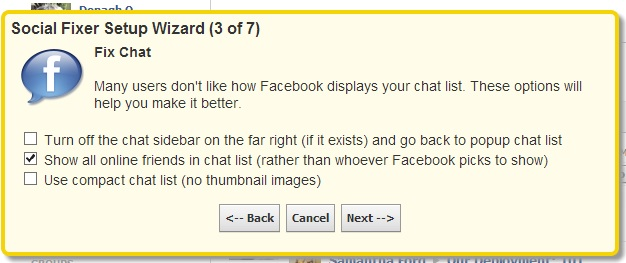 Social Fixer's Facebook chat-list display options