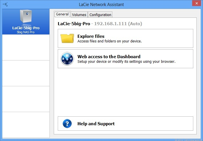 The LaCie Network Assistant software helps quickly set up the 5big NAS Pro by mapping network drives to its shared folders and launching the Web interface.
