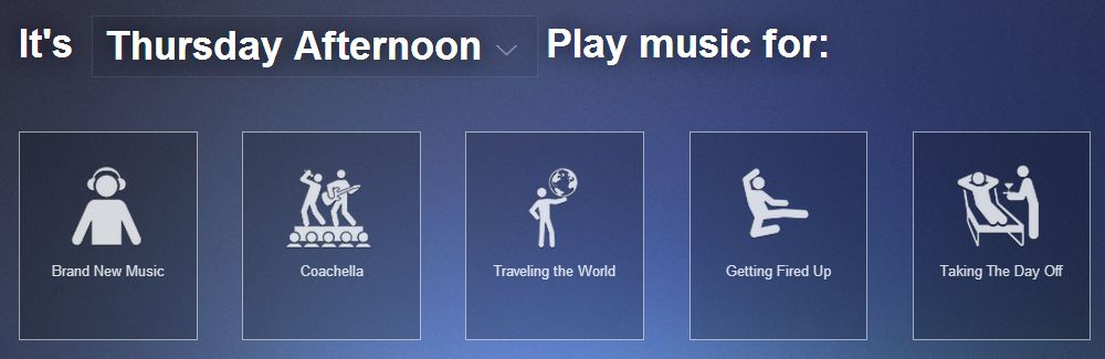 Songza (shown here on the Web) plays an endless supply of music based on how you're feeling or what you're doing -- all of it commercial-free. Who needs a music library?