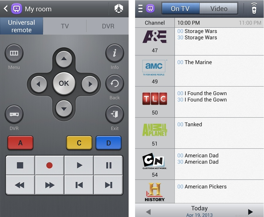 Samsung's Watch On app uses Peel to control the TV, DVR, and set-top box.