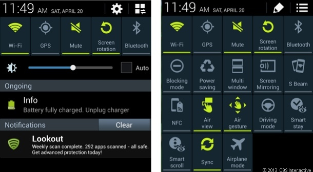 The new notifications shade on the Galaxy S4 adds a heap of new on-touch settings options.