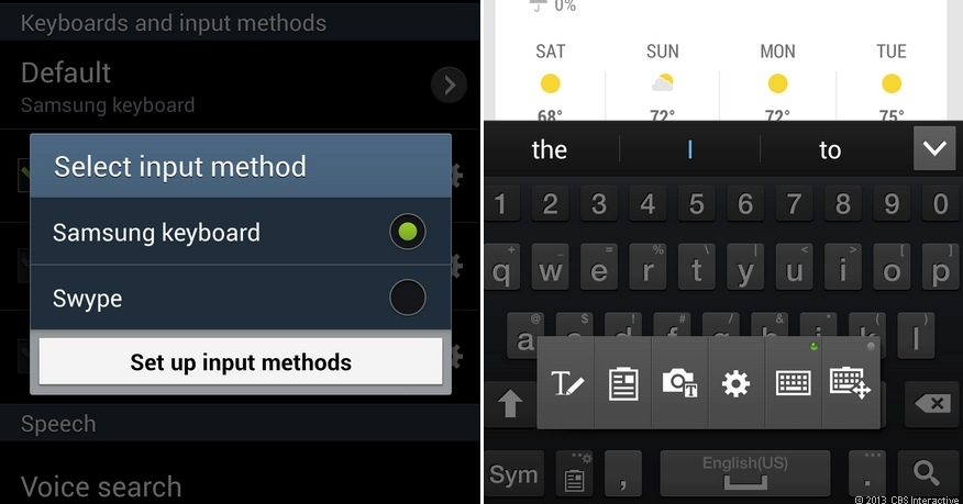 Keyboard options on the Samsung Galaxy S4