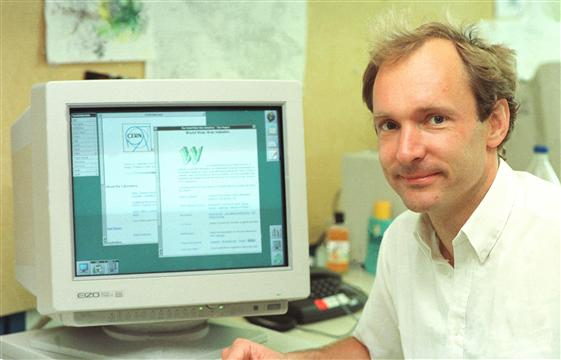 Tim Berners-Lee and his creation, the World Wide Web, in 1994