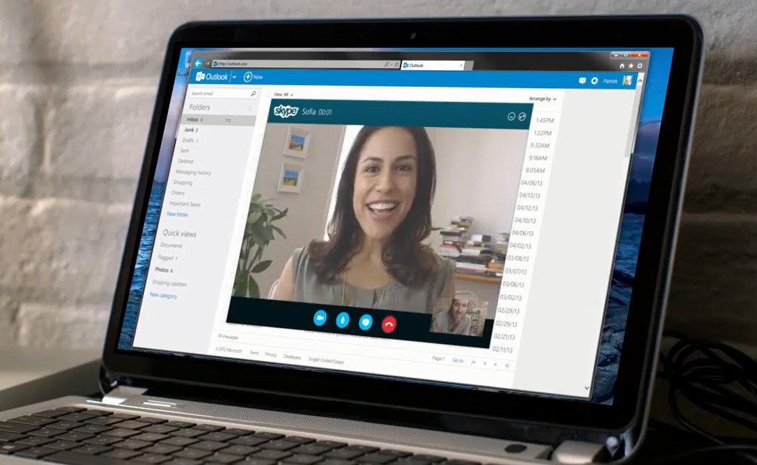 Skype viewed via Outlook.com