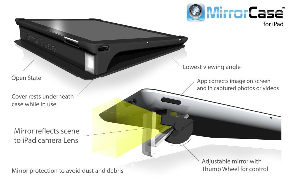 The MirrorCase for iPad gives you greater flexibility in capturing video.