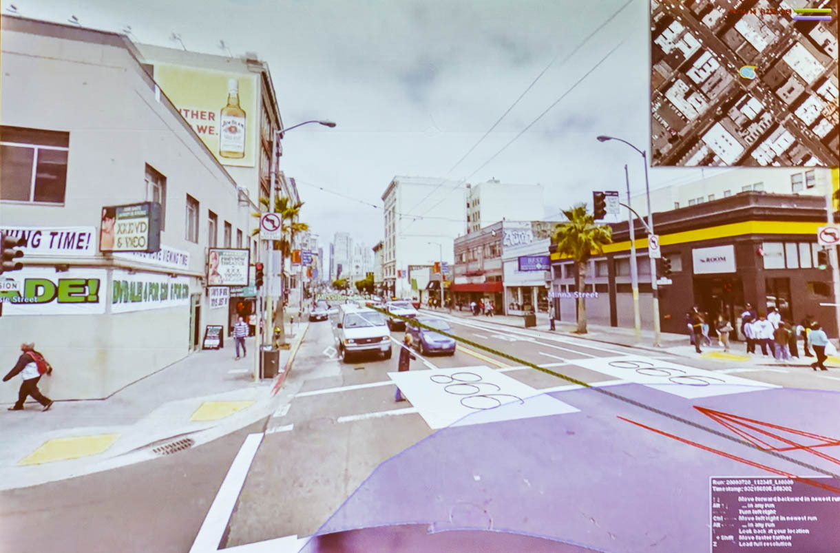 With its Atlas tool, Google Maps staff can zoom into a Street View look at an intersection with Google's own graphical overlay of traffic restrictions.