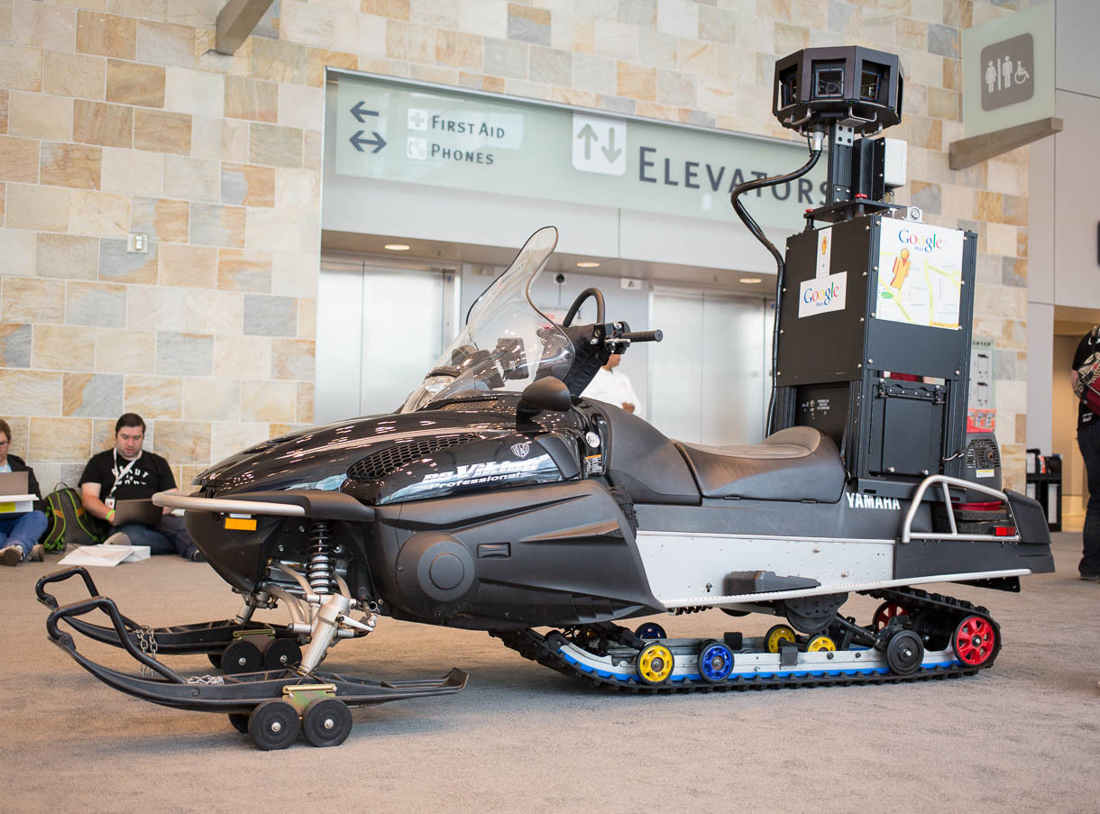 "The Street View snowmobile is used to map ski areas. Google had to adapt the technology to keep hard drives warm enough. Google showed the Street View technology at its <a href=""http://news.cnet.com/google-io/"">Google I/O 2013 show</a> developer in San Fr"