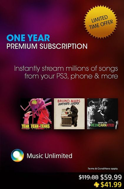 A Sony Music Unlimited subscription normally costs $119.99. Here's your chance to get it for half.