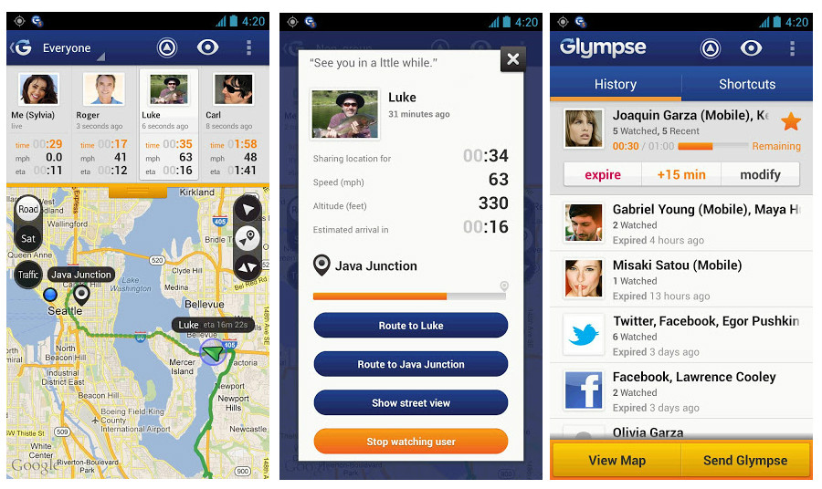 Share your location in limited amounts with specific users or Facebook friends with Glympse.