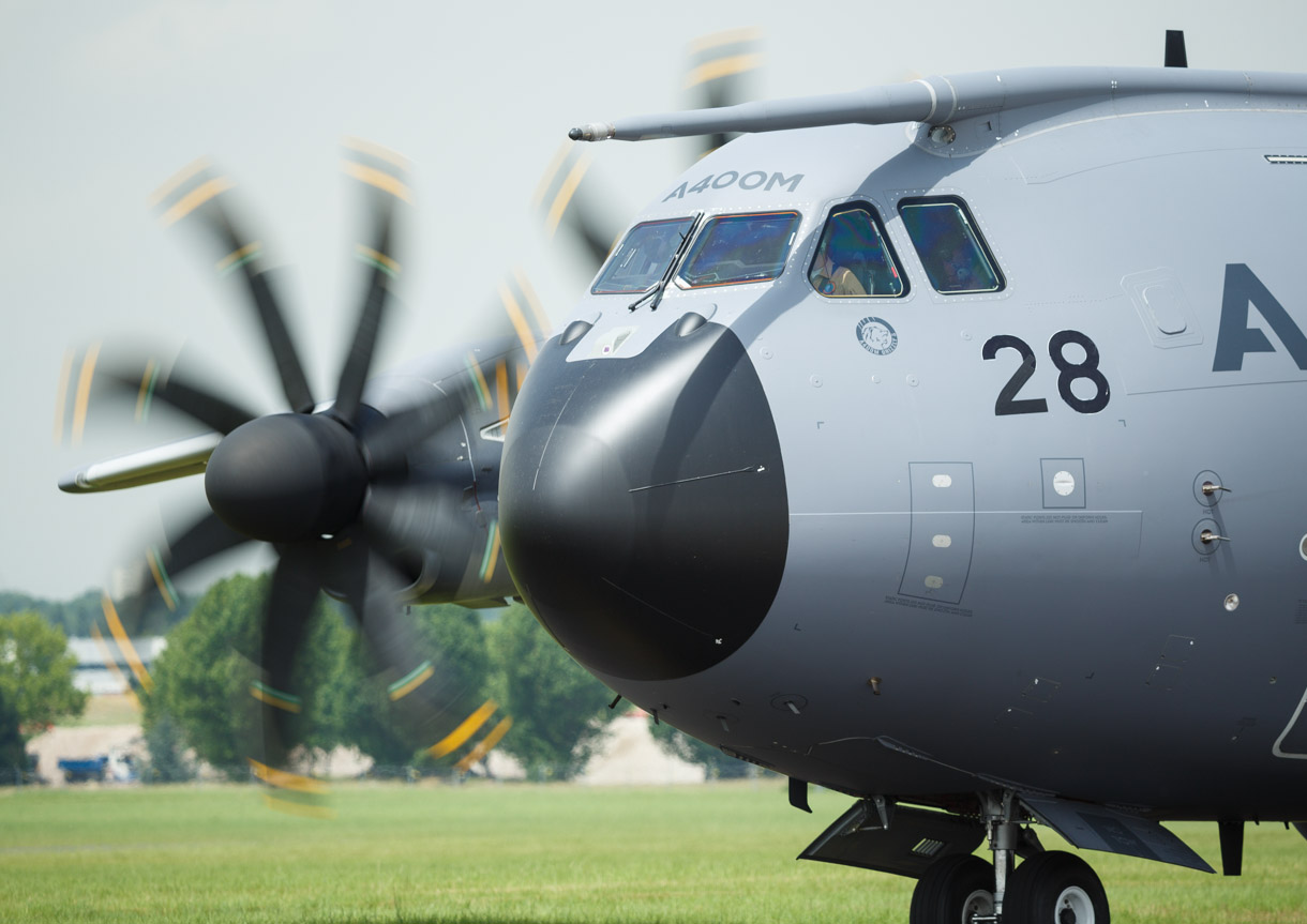 The Airbus A400M has a blunt-nosed appearance. This one is preparing for takeoff at the Paris Air Show.