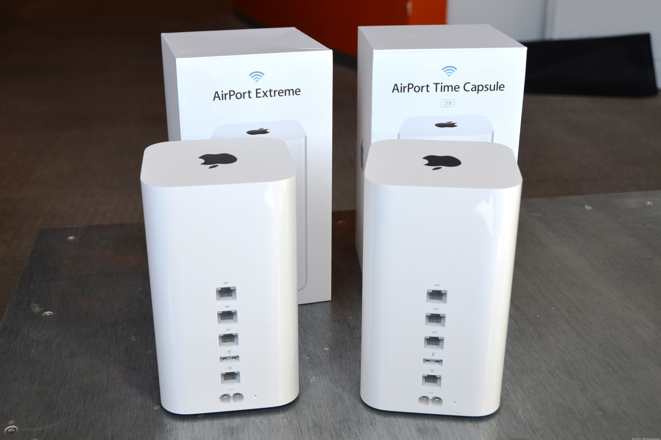 Without the boxes, you can't tell Apple's new AirPort Base Stations apart.