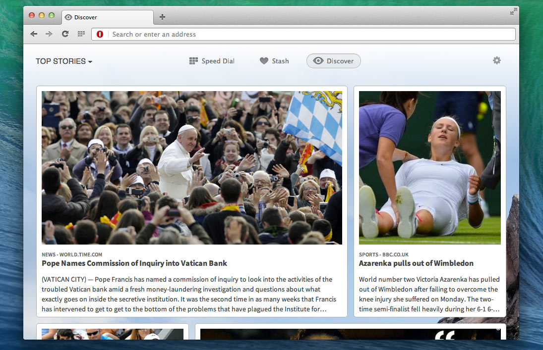 Opera Discover shows links to updated sites based on user preferences for subjects like sports, travel, and local news.