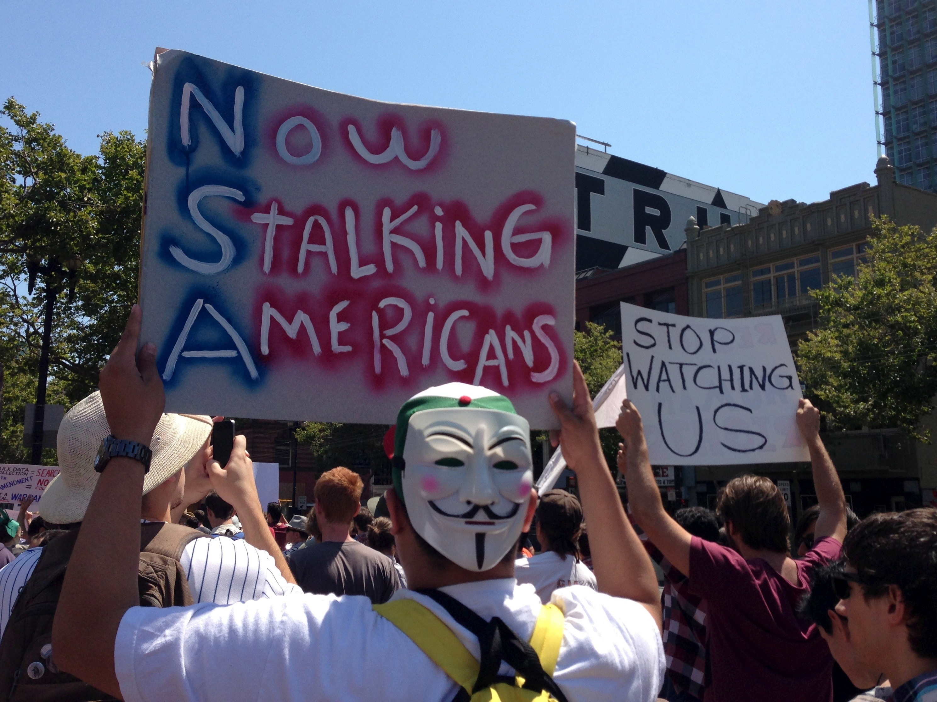 A crowd of about 300 people gathered at San Francisco's Civic Center on Thursday and then marched throughout the city to join in on the nationwide Independence Day protest of the National Security Agency's surveillance program.