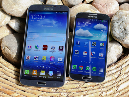 Samsung Galaxy Mega next to Galaxy S4