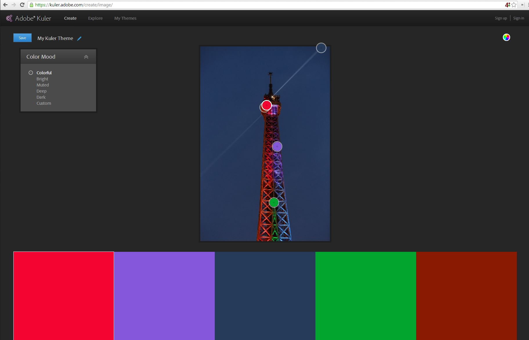 The Kuler Web site, like the iOS app, can convert colors from a photo into a five-color set.