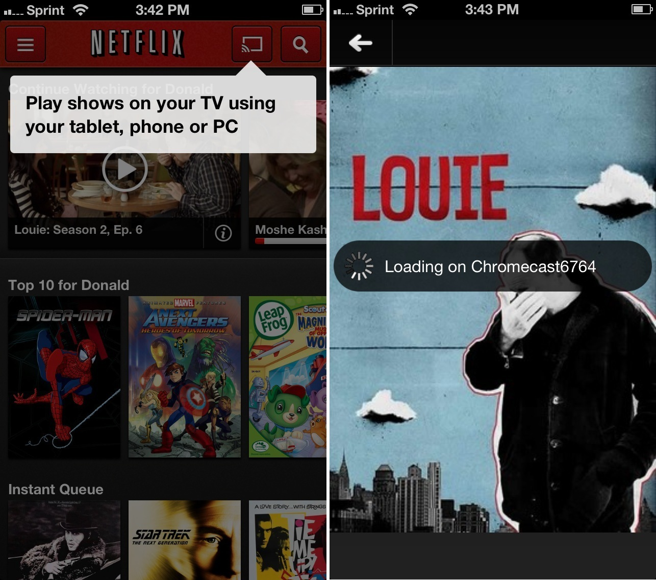 Netflix app using Chromecast.