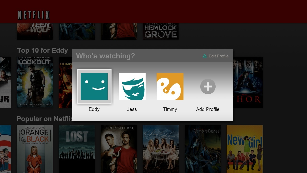 A screenshot of Netflix's profiles feature
