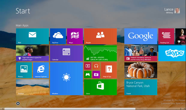 The Windows 8.1 Preview.