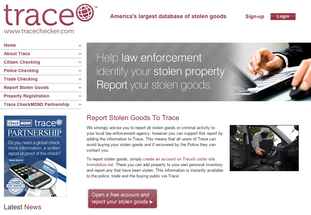 The Trace database of stolen items