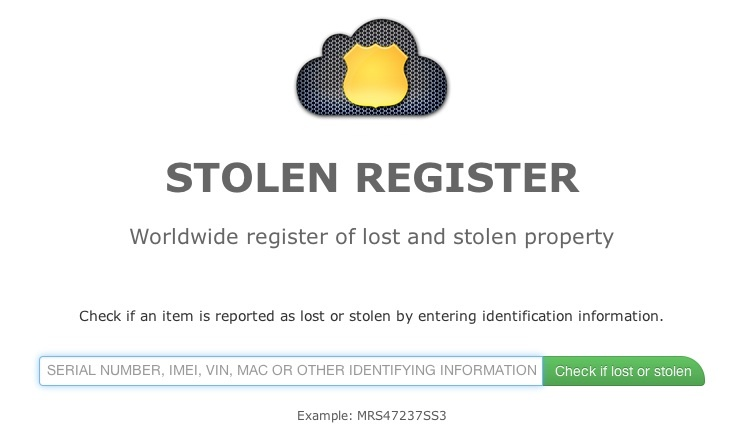 Stolen Register product search
